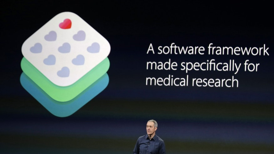 Apple Vice President of Operations, Jeff Williams, discusses ResearchKit during an Apple event on March 9, 2015, in San Francisco.