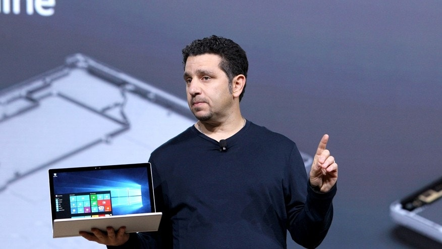 VP of Microsoft Surface Panos Panay speaks on stage at Windows 10 Devices Event, on Tuesday, Oct. 6, 2015 in New York City. (Mark Von Holden/AP Images for Windows)