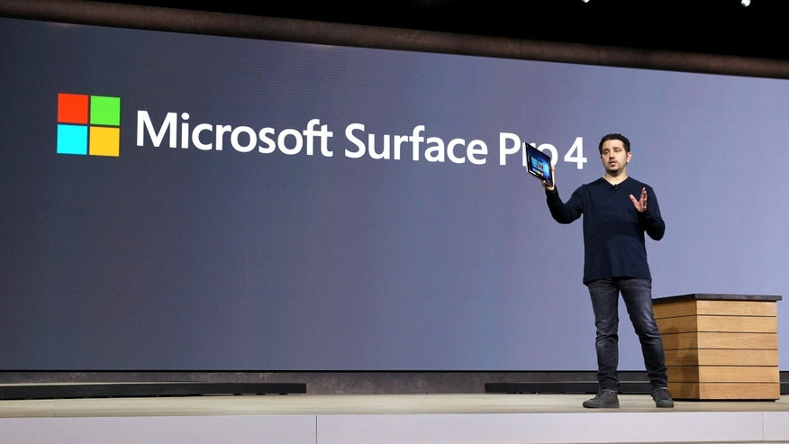 VP of Microsoft Surface Panos Panay speaks on stage at Windows 10 Devices Event, on Tuesday, Oct. 6, 2015 in New York. (Mark Von Holden/AP Images for AP Images for Windows)