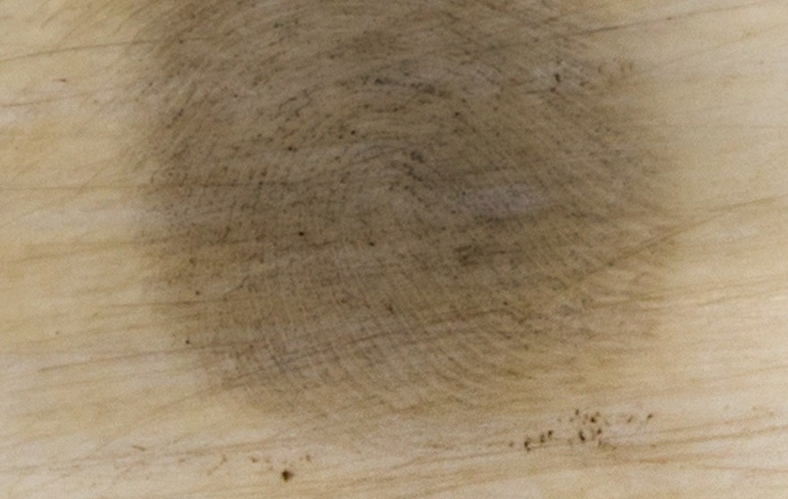 A 28-day-old fingerprint from ivory enhanced using this new technique.
