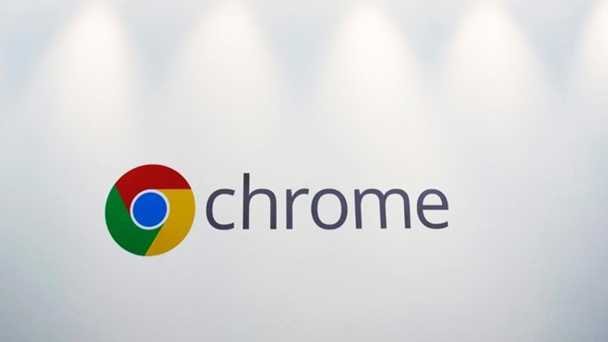 File photo - Oct. 8, 2013: The Chrome logo is displayed at a Google event in New York to unveil a $279 Chromebook. (AP Photo/Mark Lennihan)
