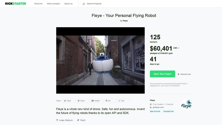 (Fleye screenshot from Kickstarter.com)