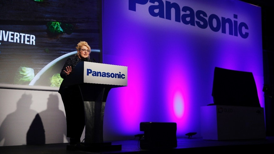 Julie Bauer, president of Panasonic Consumer Electronics Company and CMO of Panasonic Corporation of North America, speaks during a Panasonic news conference at CES Press Day at CES International, Tuesday, Jan. 5, 2016, in Las Vegas. (AP Photo/John Locher)