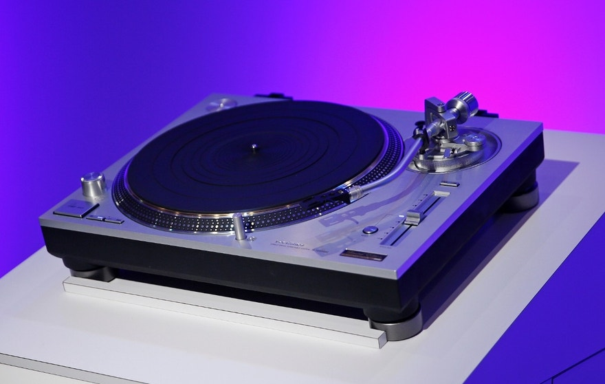 The Technics 50th anniversary limited edition Grand Class SL-1200GAE turntable is on display during a Panasonic news conference at CES Press Day at CES International, Tuesday, Jan. 5, 2016, in Las Vegas. (AP Photo/John Locher)