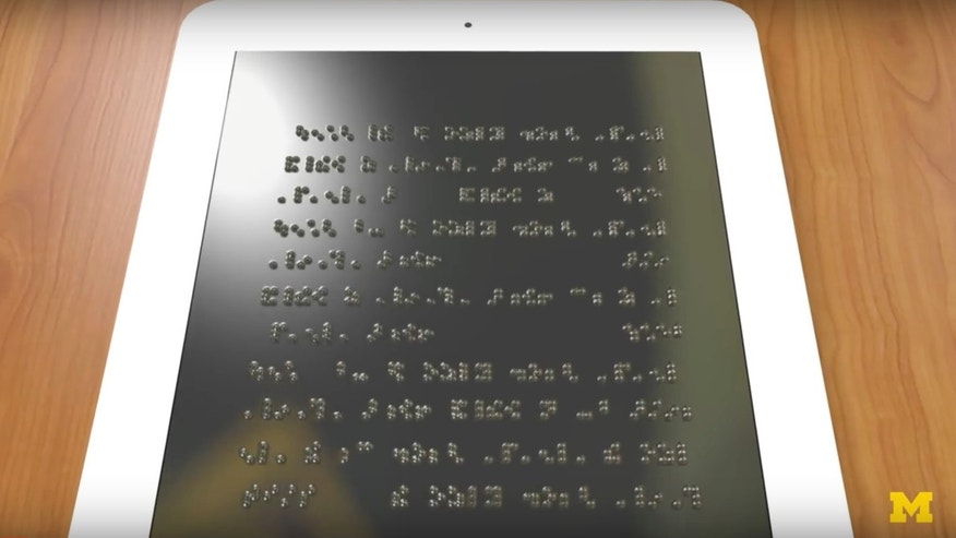Artist's impression of a Braille tablet (Credit: Kelly O'Sullivan, Michigan Engineering)