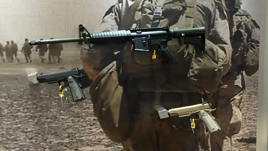 Colt Expanse M4 (top) on display at SHOT Show (Allison Barrie)