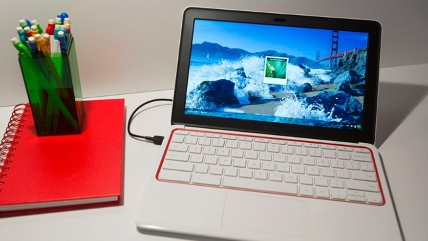 Oct. 8, 2013: The HP Chromebook 11 is displayed at a Google event in New York. (AP Photo/Mark Lennihan)