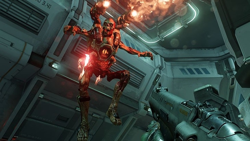 "Screnshot from new ""DOOM"" video game (Bethesda Softworks)."