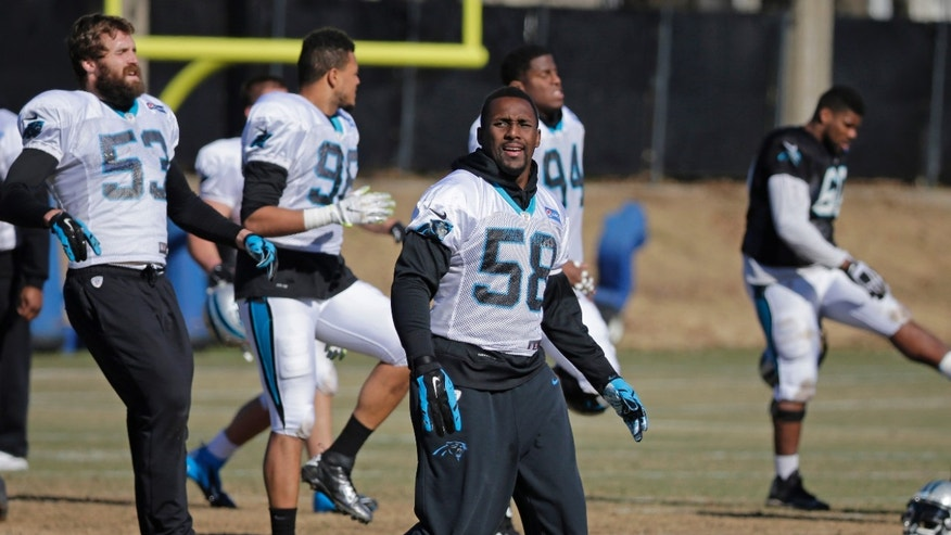 File photo - Carolina Panthers' Thomas Davis stretches during NFL football practice, Friday, Jan. 29, 2016, in Charlotte, N.C. (AP Photo/Chuck Burton)