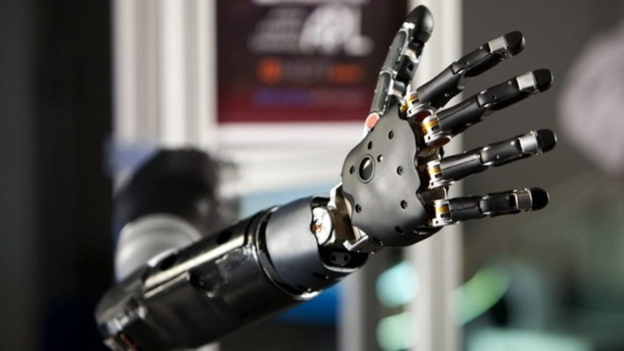 File photo - prosthetic arm, designed by the John Hopkins University's Applied Physics Laboratory (JHU/APL) and funded by the U.S. Department of Defense. (DARPA and JHU/APL)