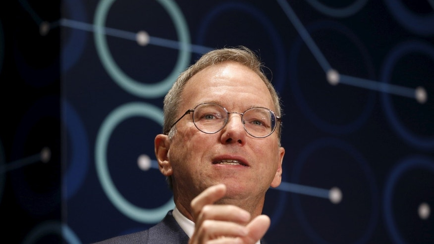 Eric Schmidt, Executive Chairman of Alphabet, speaks during a news conference ahead of matches against Google's artificial intelligence program AlphaGo, in Seoul, South Korea, March 8, 2016. (REUTERS/Kim Hong-Ji)