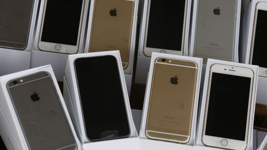 File photo - Apple's iPhone 6 are displayed during a news conference by Customs and Excise Department and the police in Hong Kong Sept. 21, 2014.