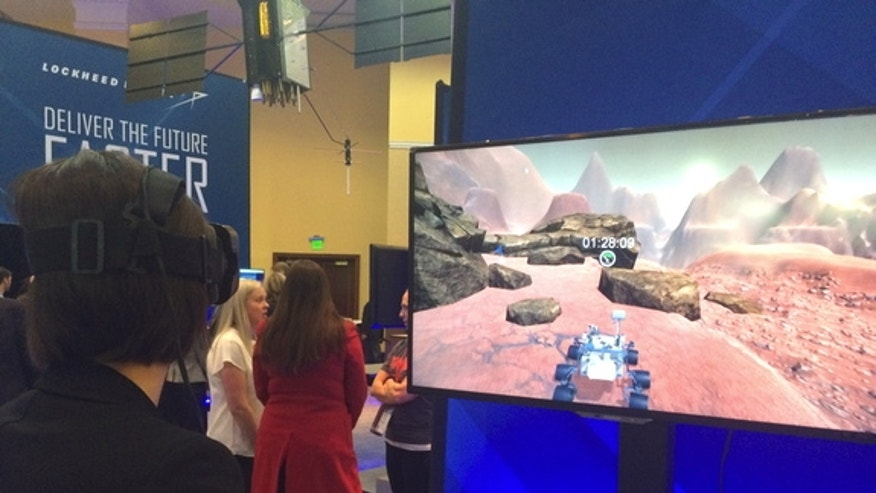 A virtual reality game created by Lockheed Martin lets the user drive a rover around on the surface of Mars.