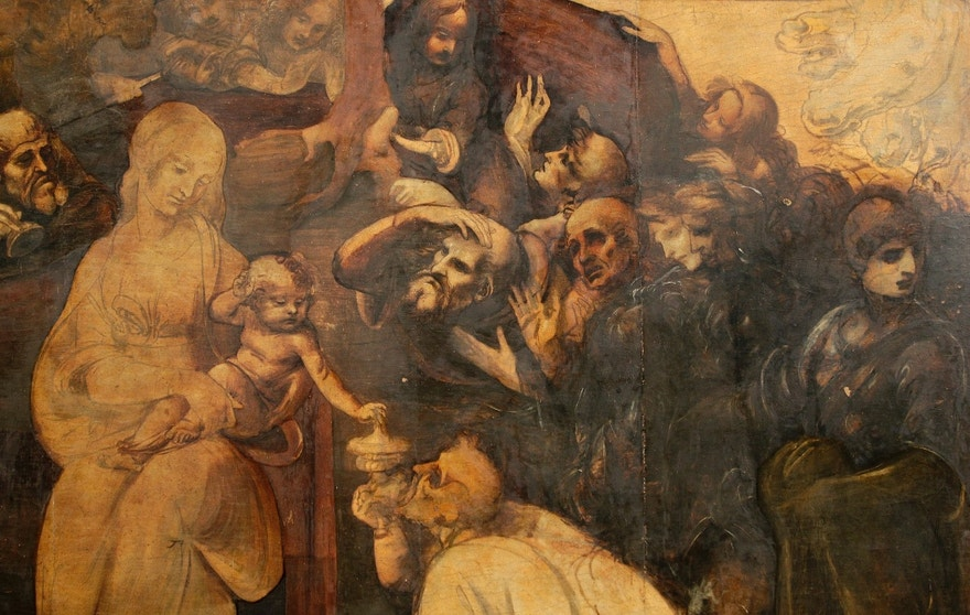 "A close up shows details in the ""Adoration of the Magi"", a massive painting that Leonardo da Vinci started in 1481 at the age of 29 but abandoned a year later, leaving it in various stages of conception and development, as it is unveiled in Florence September 23, 2014. The painting on wood, measuring about 2.5 by 2.5 meters (8.2 by 8.2 feet) depicts the three wise men who paid tribute to the infant Jesus in Bethlehem, but it also includes a riot of human figures, battling horses, architectural designs, landscapes and skies. Done on 10 slabs of wood glued together, it has blank areas, areas with under-drawings, and sections in advanced stages. The current restoration project has revealed many previously hidden details, facial expressions and subtleties of light and shadow. After the wood backing of the painting is restored, it is due to return to a special room in the Uffizi, where it will be on display with two other Leonardo works. To match Feature ART-ITALY/LEONARDO     Picture taken September 23, 2014.  REUTERS/Max Rossi   (ITALY - Tags: SOCIETY) - RTR47JN6"