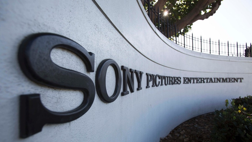A logo is pictured outside Sony Pictures Studios in Culver City.