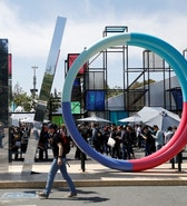 An attendee walks past a sculpture during the Google I/O 2016 developers conference in Mountain View, California May 19, 2016.  REUTERS/Stephen Lam - RTSF2DV