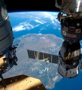 A NASA image shows the International Space Station as it flew over Madagascar, showing three of the five spacecraft docked to the station in this photo taken by the Expedition 47 Flight Engineer Tim Peake of ESA on April 6, 2016 and released on April 8, 2016. The station crew awaits the scheduled launch today, April 8, of the third resupply vehicle in three weeks: a SpaceX Dragon cargo spacecraft.     REUTERS/Tim Peake/ESA/NASA/Handout via Reuters   FOR EDITORIAL USE ONLY. NOT FOR SALE FOR MARKETING OR ADVERTISING CAMPAIGNS. THIS IMAGE HAS BEEN SUPPLIED BY A THIRD PARTY. IT IS DISTRIBUTED, EXACTLY AS RECEIVED BY REUTERS, AS A SERVICE TO CLIENTS - RTSE883