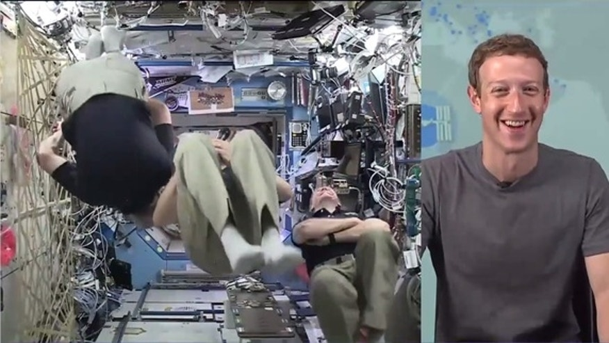 "Astronauts Jeff Williams, Tim Kopra and Tim Peake show off ""fun in space"" during a Facebook Live chat with Mark Zuckerberg on June 1."