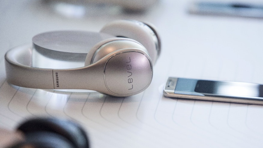 Samsung Level Headphones are seen at the Samsung Galaxy Unpacked 2015 event in New York August 13, 2015.