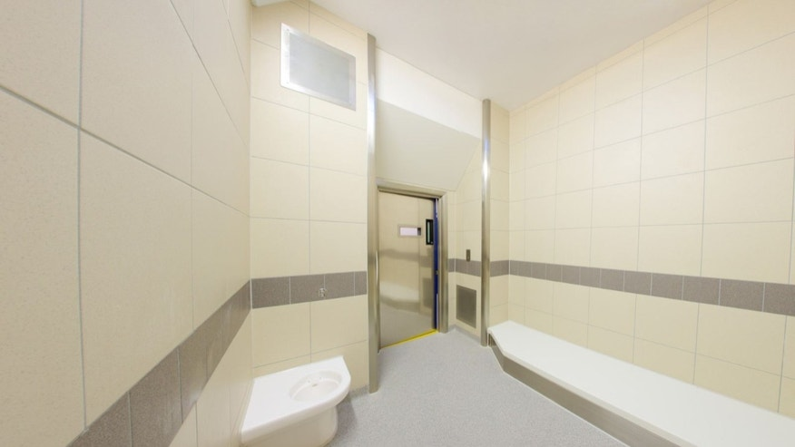 Jail cell at Perry Barr custody suite.
