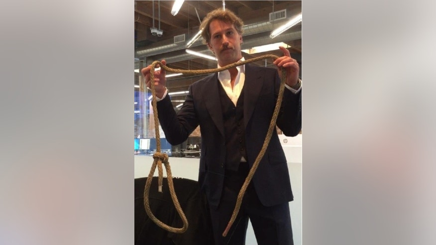 Former Hyperloop One CTO Brogan BamBrogan with the noose allegedly placed on his office chair (Image from lawsuit).