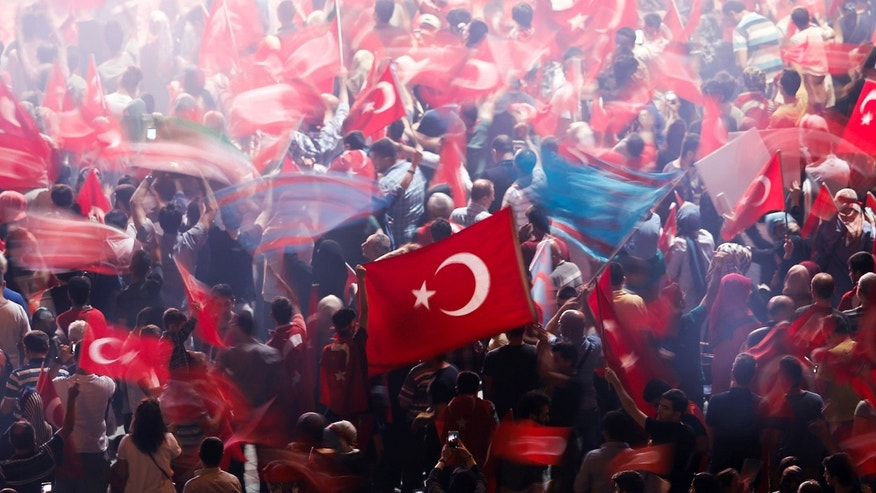 File photo - Supporters of Turkish President Tayyip Erdogan wave Turkish national flags during a pro-government demonstration on Taksim square in Istanbul, Turkey, July 19, 2016. (REUTERS/Alkis Konstantinidis)