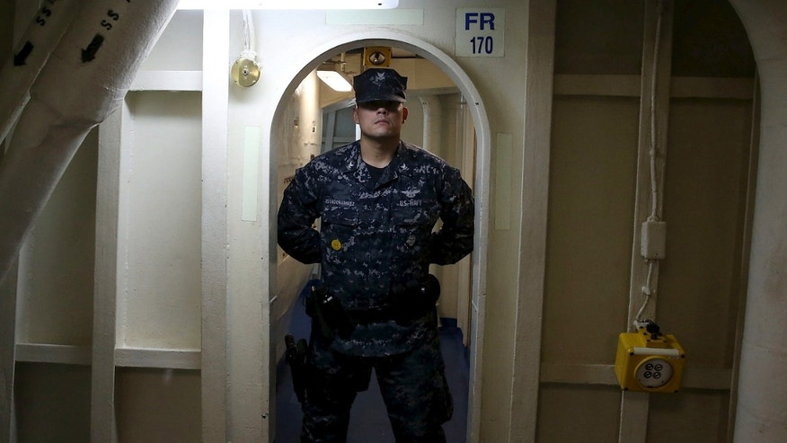 File photo - A crew member stands guard in a doorway as U.S. Defense Secretary Ash Carter tours the USS Eisenhower off the coast of Virginia, in the Atlantic Ocean, Dec. 10, 2015. (REUTERS/Mark Wilson/Pool)