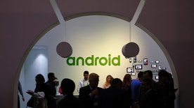 File photo - People visit an Android stand at the Mobile World Congress in Barcelona March 4, 2015.