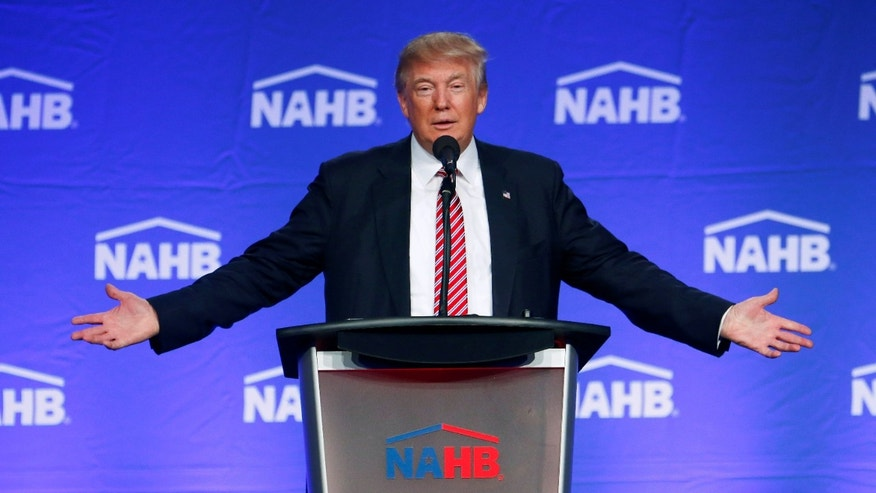 Republican U.S. presidential nominee Donald Trump speaks at the National Association of Home Builders event at the Fontainebleau Miami Beach in Miami, Florida August 11, 2016.