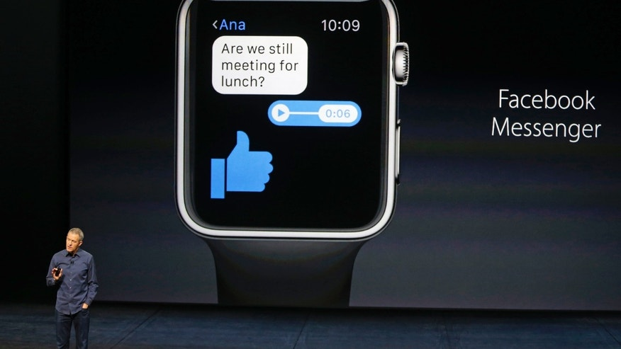 Jeff Williams, Apple's senior vice president of Operations, speaks about the Apple Watch and Facebook Messenger during an Apple media event in San Francisco, California, September 9, 2015. (Reuters/Beck Diefenbach)