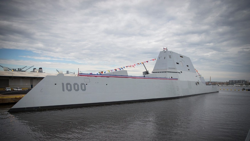 The future Zumwalt-class guided-missile destroyer USS Zumwalt (DDG 1000) is seen pierside at Canton Port Services before its commissioning on Oct. 15, 2016. (U.S. Navy photo by Petty Officer 2nd Class George M. Bell/Released)