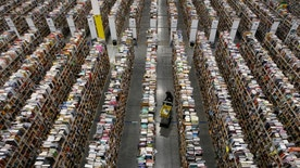 A worker gathers items for delivery from the warehouse floor at Amazon's distribution center in Phoenix, Arizona November 22, 2013. The web-based retailer is preparing for Cyber Monday, which is traditionally the busiest day of the year for online purchases, and falls on December 2 in 2013. REUTERS/Ralph D. Freso   (UNITED STATES - Tags: BUSINESS TPX IMAGES OF THE DAY EMPLOYMENT) - RTX15P9T