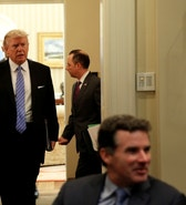 U.S. President Donald Trump arrives for a meeting with business leaders in the Roosevelt Room of the White House in Washington January 23, 2017.  REUTERS/Kevin Lamarque - RTSWZ37