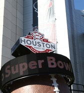 Jan 7, 2017; Houston, TX, USA; A countdown to Super Bowl LI scrolls outside of NRG Stadium before the AFC Wild Card playoff football game between the Houston Texans and the Oakland Raiders. Mandatory Credit: Troy Taormina-USA TODAY Sports - RTX2XWWK