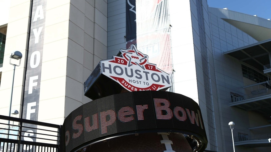Jan 7, 2017; Houston, TX, USA; A countdown to Super Bowl LI scrolls outside of NRG Stadium before the AFC Wild Card playoff football game between the Houston Texans and the Oakland Raiders. (Mandatory Credit: Troy Taormina-USA TODAY Sports)