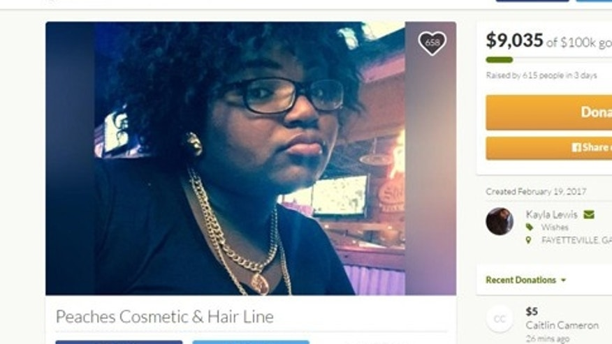 (Screenshot from www.gofundme.com/peaches-cosmetic-hair-line)