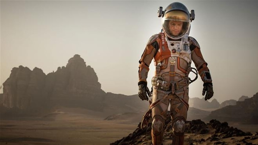 "This photo released by 20th Century Fox shows Matt Damon in a scene from the film, ""The Martian."""