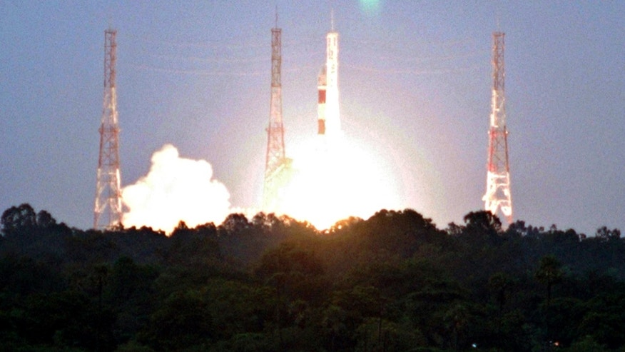 File photo - India's Polar Satellite Launch Vehicle (PSLV) C-11 blasts off carrying India's first unmanned moon mission Chandrayaan-1 from the Satish Dhawan space centre at Sriharikota, about 62 miles north of the southern Indian city of Chennai Oct. 22, 2008. (REUTERS/Babu (INDIA))