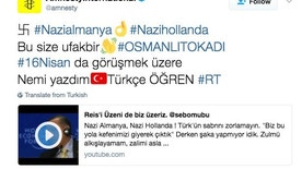 "This is a screen-grab of  the Amnesty International Twitter feed taken on Wednesday March 15, 2017. Twitter says it has revoked access to block ""a third-party app"" apparently used to hack a number of accounts to broadcast pro-Turkish messages, like the one illustrated. It's not clear how many accounts were taken over late Tuesday but the targets appear to have been entirely random. (AP Photo)"