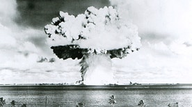 This U.S. Navy handout image shows Baker, the second of the two atomic bomb tests, in which a 63-kiloton warhead was exploded 90 feet under water as part of Operation Crossroads, conducted at Bikini Atoll in July 1946 to measure nuclear weapon effects on warships. The United States said on April 25, 2014, it was examining lawsuits filed by the Marshall Islands against it and eight other nuclear-armed countries that accuse them of failing in their obligation to negotiate nuclear disarmament.  REUTERS/U.S. Navy/Handout via Reuters (MARSHALL ISLANDS - Tags: POLITICS MILITARY CONFLICT) ATTENTION EDITORS - FOR EDITORIAL USE ONLY. NOT FOR SALE FOR MARKETING OR ADVERTISING CAMPAIGNS. THIS PICTURE WAS PROVIDED BY A THIRD PARTY. REUTERS IS UNABLE TO INDEPENDENTLY VERIFY THE AUTHENTICITY, CONTENT, LOCATION OR DATE OF THIS IMAGE. THIS PICTURE IS DISTRIBUTED EXACTLY AS RECEIVED BY REUTERS, AS A SERVICE TO CLIENTS - RTR3MON6