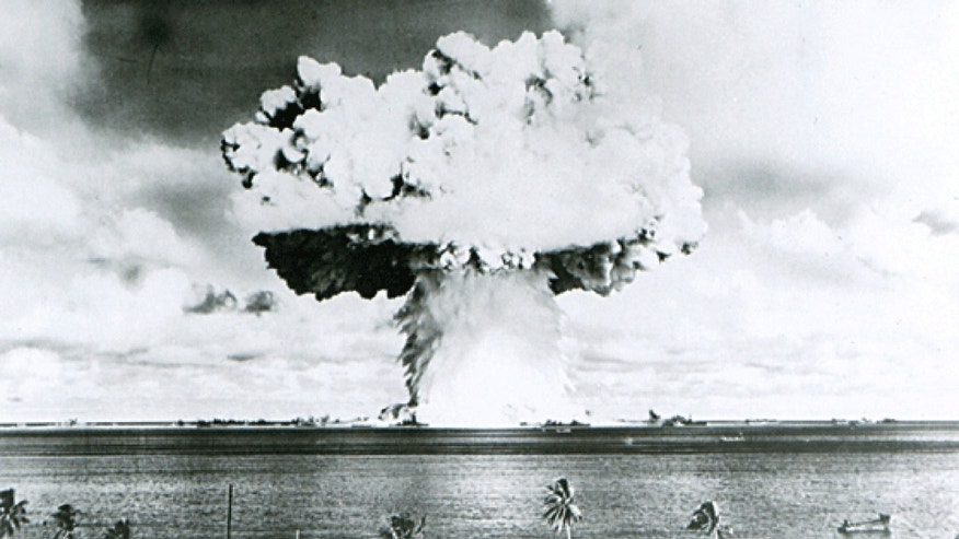 File photo - This U.S. Navy handout image shows Baker, the second of the two atomic bomb tests, in which a 63-kiloton warhead was exploded 90 feet under water as part of Operation Crossroads, conducted at Bikini Atoll in July 1946 to measure nuclear weapon effects on warships. (REUTERS/U.S. Navy/Handout via Reuters)