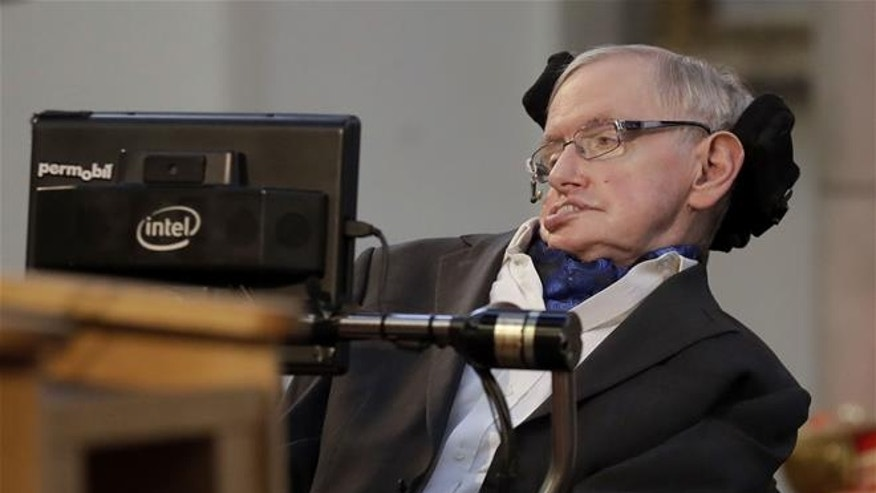 Stephen Hawking delivers a keynote speech at the Guildhall in London on March 6, 2017.