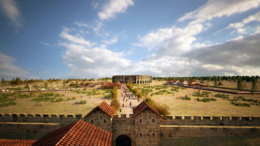 A visualization of Carnuntum's taverns, amphitheater and gladiator school (LBI ArchPro, 7reasons).