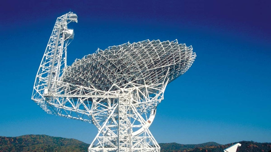 The Green Bank Telescope in West Virginia. The 330-foot-wide (100 meters) radio dish is searching for possible signals from intelligent aliens as part of the $100 million Breakthrough Listen project.