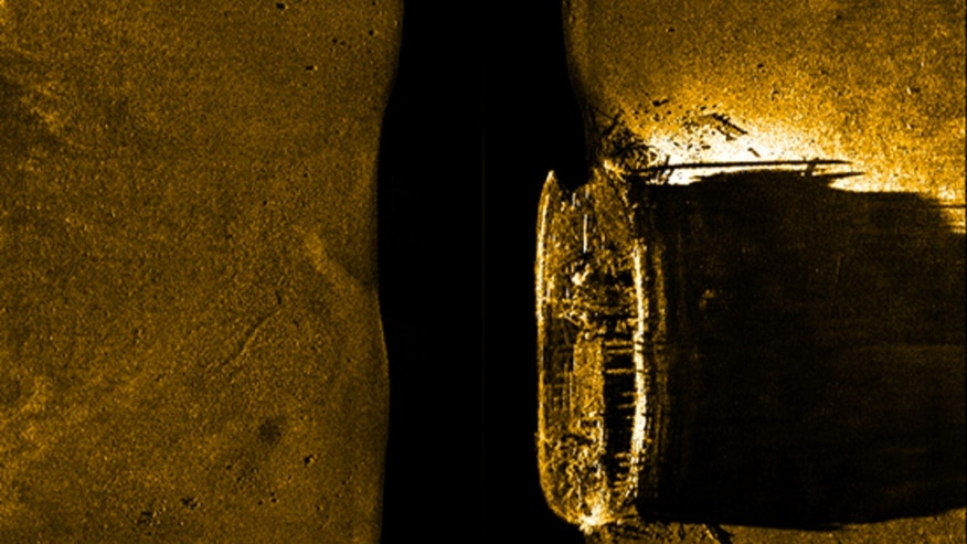 A sonar image showing the ill-fated HMS Erebus shipwreck.