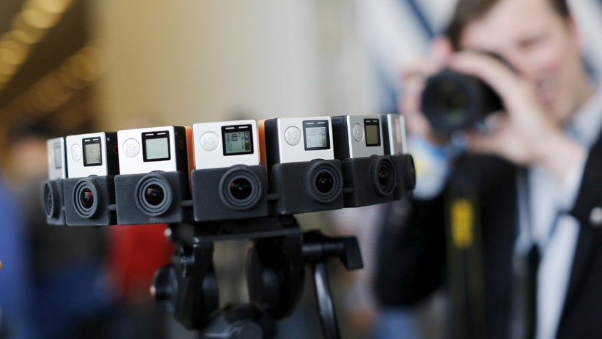 "File photo: A GoPro device featuring 16 cameras, to be used with Google's ""Jump,"" to provide viewers with 360-degree video, is shown during the Google I/O developers conference in San Francisco, California May 28, 2015. (REUTERS/Robert Galbraith)"