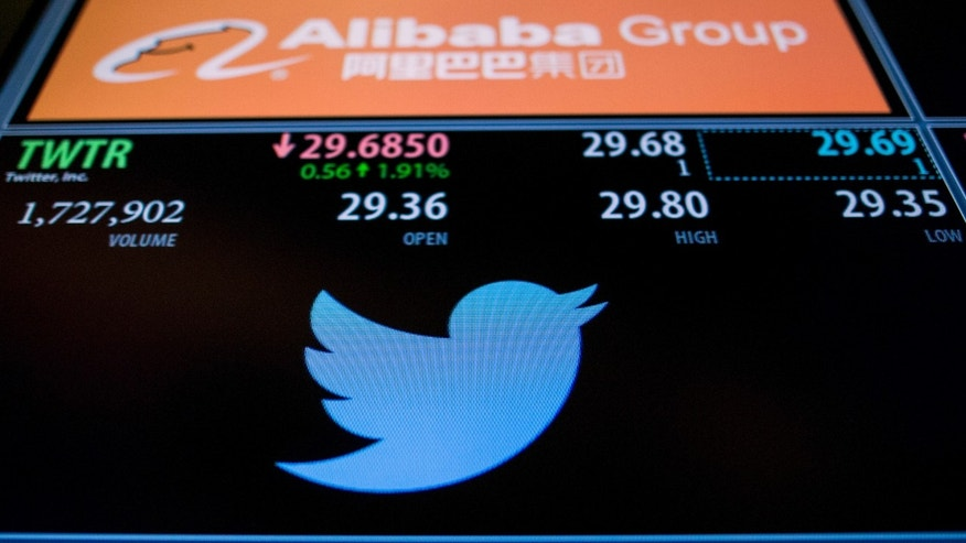 File photo: The ticker information for Twitter Inc., is displayed on a screen above the post where it's traded on the floor of the New York Stock Exchange November 4, 2015. (REUTERS/Brendan McDermid)