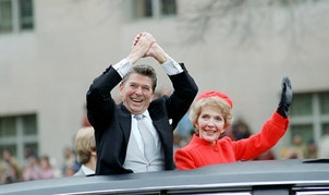 Ronald and Nancy Reagan wave from the limousine during their inaugural parade in Washington, D.C., U.S. in January 1981.      Ronald Reagan Presidential Library/Handout via REUTERSATTENTION EDITORS - THIS IMAGE WAS PROVIDED BY A THIRD PARTY. EDITORIAL USE ONLY - RTSVGRI