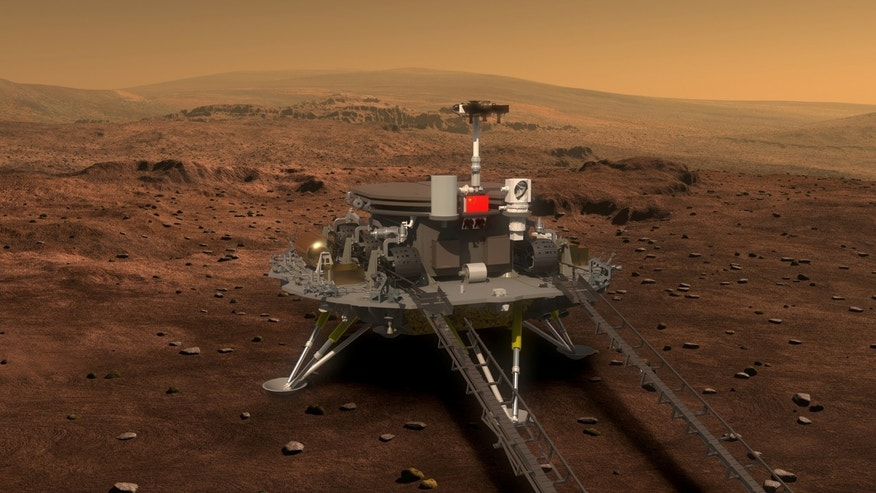 Concept portrayal of China's Mars rover and lander released on August 23, 2016 by lunar probe and space project center of Chinese State Administration of Science, Technology and Industry for National Defence. (China Daily/via REUTERS)