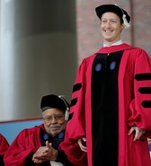 Facebook founder Mark Zuckerberg stands to receive an honorary Doctor of Laws degree during the 366th Commencement Exercises at Harvard University in Cambridge, Massachusetts, U.S., May 25, 2017.   REUTERS/Brian Snyder - RTX37MFV